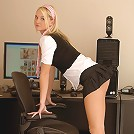 Alison Angel plays in her office