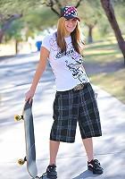 Danielle wears some skater gear