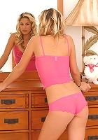 Lia 19 shows off her sexy pink undies