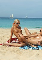 Franziska and Kacey Jordan Toying Double Dildo on Beach