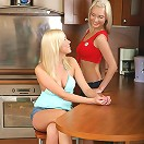 Angelic blondes get naked and dildo