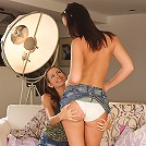 Juliette and Charly - Lovely brunettes undress and dildo
