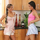 Simona and Nataly - Teen vixens dildo butts in kitchen