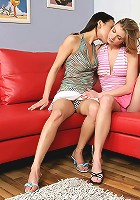 Mae and Ally - Teen lesbians kiss and lick pussies