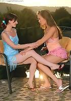 Mya and Leila - Stunning beauties lap and rub twats