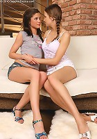 Juliette and Caprice - Alluring brunettes lick and finger