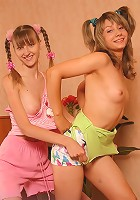 Mariya undresses Lyuba. The girls seem to really want each other!