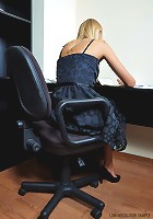 Beauty girl is getting naked on a office