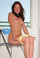 Poshy Fay Galloway strips off her yellow dress and rubs her clit with her pink toy