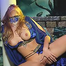 Witch-like blonde girl masturbates