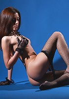 Gorgeous and skinny Celesta posing in the pantyhose and gloves
