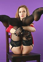 Skinny small breasted Tracy posing in gloves and stockings