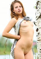 Attractive goddess Amy with fantastic body decides to show her naked figure in the forest