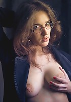 Even when's having a bad day, Emily still looks smoldering hot and irresistably tempting as ever, with a lusty gaze behind her glasses, pouty lips, a gorgeous body just begging to be fucked.