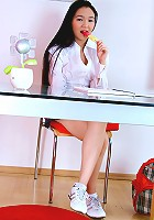 Nubiles.net Natalya - Horny Asian teen plays with her tight pussy on atop her desk