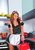 Nubiles.net Frida - Check out this horny housemaid washing her pussy with water in the kitchen sink