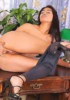 Nubiles.net Ruth Medina - Ruth Medina is alone at the office as she strips naked and fingers her cock starved hole