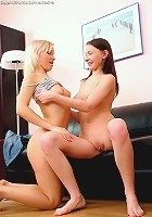 Natalee and Minna - Delightful teens undress and dildo