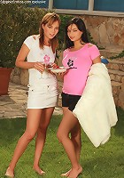 Nikitta and Angelina - Sultry picnickers strip and finger