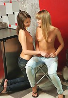Milka and Ady - Slender teens undress and finger