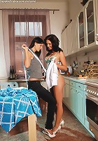 Eva and Anastasia - Stunning brunettes lick on table