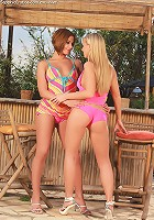 Cipriana and Rebecca - Hot teens have sex by outdoor bar