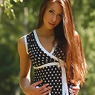 Zemani.com Nikita - Young nice model in the tempting short dress shows her beautiful pussy in the birch forest.