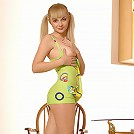 Zemani.com Lesya - Nice blond with a young body take off her green dress and poses in a kitchen.